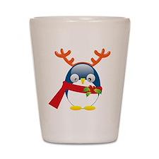 Penguin Reindeer blk Shot Glass