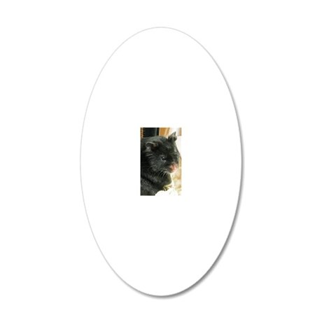 Black Hamster 20x12 Oval Wall Decal