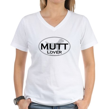 MUTT LOVER Women's V-Neck T-Shirt