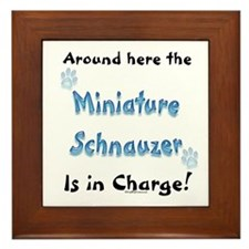 Schnauzer Charge Framed Tile