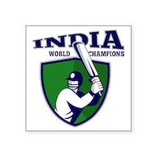 "cricket player batsman indi Square Sticker 3"" x 3"""