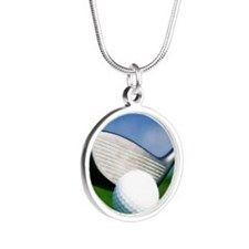 golf puzzle Silver Round Necklace