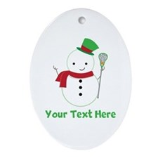 Personalized Lacrosse Snowman Ornament (Oval)