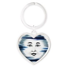 Blue Moon Face4 Heart Keychain