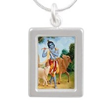 kids_bottle_krishna_blue Silver Portrait Necklace