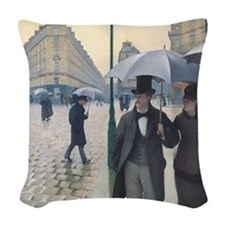 Rainy day in Paris Woven Throw Pillow