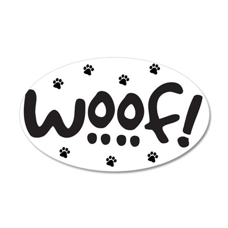 Woof! Dog-Themed 35x21 Oval Wall Decal