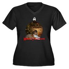 GraciePup Women's Plus Size Dark V-Neck T-Shirt