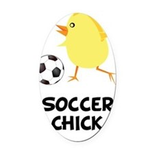Soccer Chick Black Oval Car Magnet