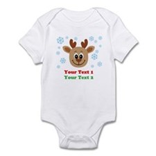 Personalize Cute Baby Reindeer Infant Bodysuit