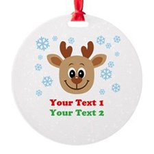 Personalize Cute Baby Reindeer Ornament