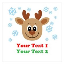 Personalize Cute Baby Reindeer 5.25 x 5.25 Flat Ca
