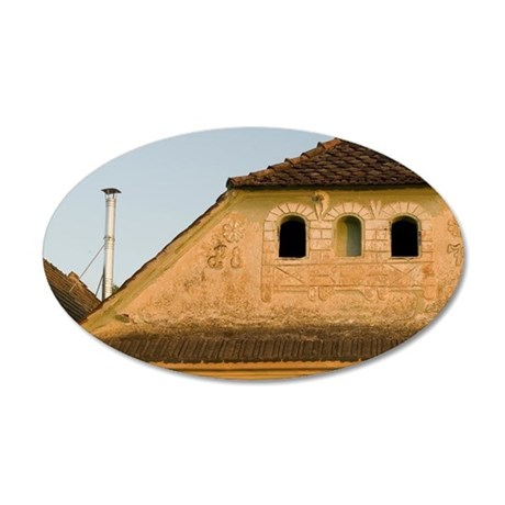 House detail in Sacele town  35x21 Oval Wall Decal