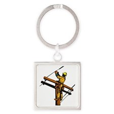 power lineman electrician repairma Square Keychain