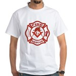 S&C Wearing the Fire Fighters Hat White T-Shirt