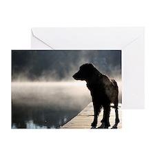 Flat Coat in the Fog Greeting Card