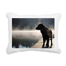 Flat Coat in the Fog Rectangular Canvas Pillow