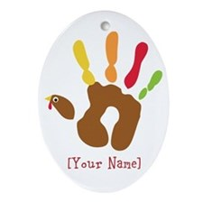 Personalized Turkey Hand Ornament (Oval)