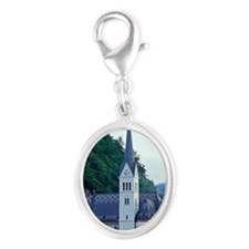 Europe, Slovenia, Lake Bled Silver Oval Charm