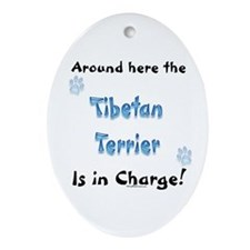 Tibetan Terrier Charge Oval Ornament