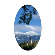 Bled Castle and Julian AlpsBled Is Oval Car Magnet