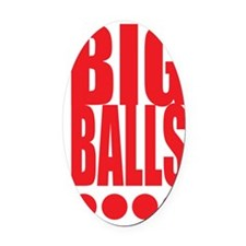 big-balls-white Oval Car Magnet