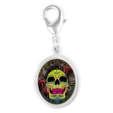 Sugar Skull sticker Silver Oval Charm