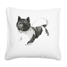 Akita-1-drawing Square Canvas Pillow