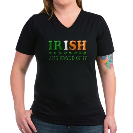 Irish and Proud of It 3D Women's V-Neck Dark T-Shi