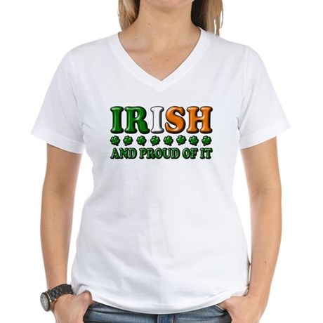 Irish and Proud of It 3D Women's V-Neck T-Shirt