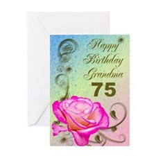 75th birthday card for grandma, Elegant rose Greet