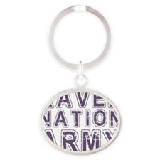 raven nation army purple text Oval Keychain