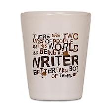 writer_two_brown Shot Glass