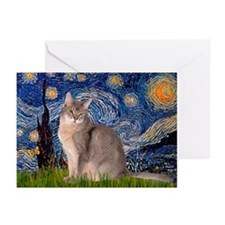 Starry / Blue Abyssinian cat Greeting Cards (Pk of