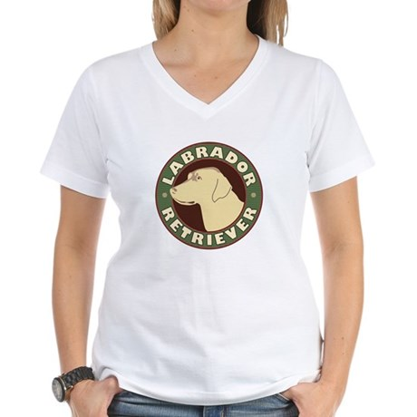 Yellow Lab Crest - Women's V-Neck T-Shirt