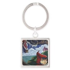 big red frame Square Keychain
