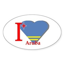 I love Aruba flag Oval Decal