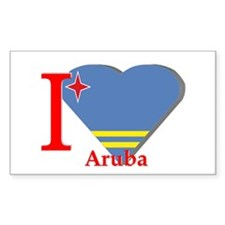 I love Aruba flag Rectangle Decal