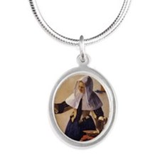 Young Woman with a Water Pitc Silver Oval Necklace