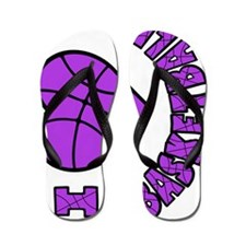 lavendar sideways, Love Basketball Flip Flops