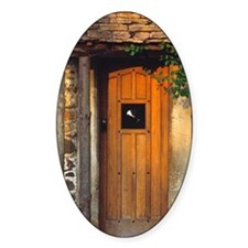 An old wooden door welcomes visitor Decal