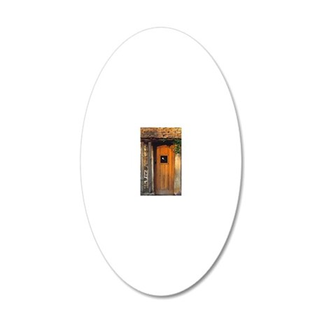 An old wooden door welcomes  20x12 Oval Wall Decal