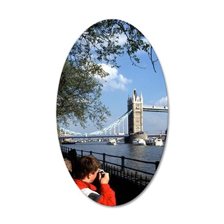 Tourists at Famous Tower Bri 35x21 Oval Wall Decal