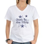 Born in the USA Women's V-Neck T-Shirt