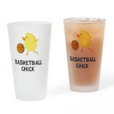 FBC Basketball Chick Black Drinking Glass