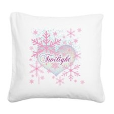 twilight pink snowflakes with Square Canvas Pillow