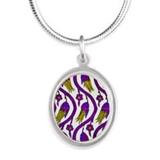 turkish tulip wide 2 v Silver Oval Necklace