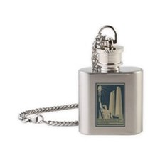 Vimy Ridge Memorial WWI War Poster Flask Necklace