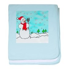 Snowman In Winter Wonderland baby blanket