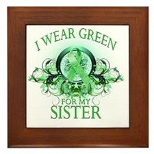 I Wear Green for my Sister (floral) Framed Tile